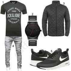 Lässiger Herren-Look mit grauem Jack & Jones T-Shrit, schwarzer MVMT Armbanduhr, Blend Stanley Jacke, Merish Jeans und Nike Air Max Schuhen.