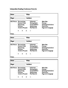 Individual Reading And Writing Conference Forms A Tool For