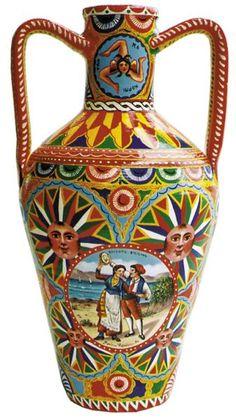 Photo by Levonda Terracotta Paint, Painted Vases, Vintage Italy, Sicily Italy, Southern Italy, Wooden Art, Catania, Palermo, Amazing Art