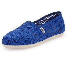 TOMS Crochet Slip-On ($59) ❤ liked on Polyvore featuring shoes, flats, toms, 22. flats & sandals., zapatos, cobalt, crochet shoes, square-toe ballet flats, toms flats and slip-on shoes