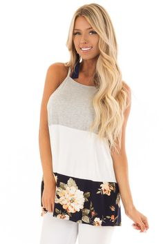 d6785a447ae45a Lime Lush Boutique - Navy and White Color Block High Neck Tank Top, $34.99 (