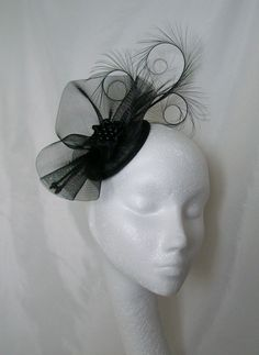 Black Tabitha Fascinator Mini Hat- Order Now from Gothic Diva Designs Fabulous…