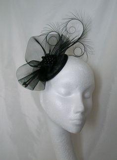 Black Tabitha Fascinator Mini Hat- Order Now from Gothic Diva Designs Fabulous…