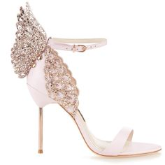 Sophia Webster Evangeline glitter angel-wing sandals (9 065 ZAR) ❤ liked on Polyvore featuring shoes, sandals, heels, light pink, stilettos shoes, sophia webster shoes, embellished shoes, angel wing sandals and light pink shoes