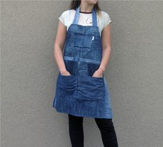 Recycled denim apron by Yours Again Denim Aprons, Recycled Denim, Colored Denim, Black Denim, Overall Shorts, Work Wear, Stylish, How To Wear, Stuff To Buy
