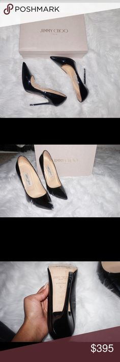 Jimmy Choo Anouk Pumps Size 37 ANOUK In great condition! $595.00 originally selling for $395.00 Black Patent Leather Pointy Toe Pumps   The pointy toe Anouk in black patent leather is a triumph in stiletto engineering - the elegant silhouette and towering spike heel are perfectly proportioned. Heel measures 120mm/4.7 Jimmy Choo Shoes Heels