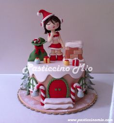 Christmas Cake with a Santa Girl :) — Christmas