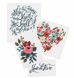 Floral Set Collection of 8 Temporary Tattoos // Rifle Paper Co