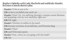 Replace Ophelia with Lady Macbeth and suddenly Hamlet becomes a much shorter play!