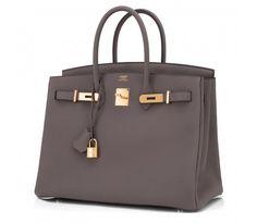 Hermes Etain Togo Tin Grey 35cm Birkin Bag Gold Hardware