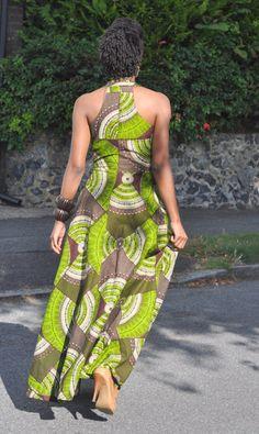 African print skater maxi dress in brown and by HouseofAfrika ~African fashion, Ankara, kitenge, African women dresses, African prints, Braids, Nigerian wedding, Ghanaian fashion, African wedding ~DKK