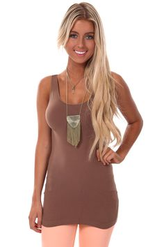 c6e9aa5029eac Lime Lush Boutique - Taupe Seamless Long Tank Top