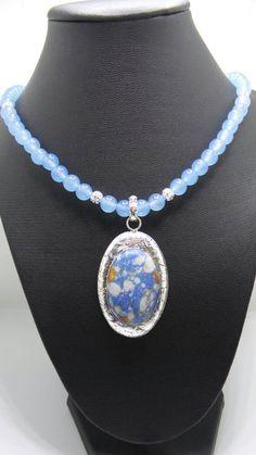 Handmade Aquamarine beaded necklace with blue Mosaic Jasper pendant. by FierStaarGems on Etsy