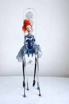Ooak art doll Blue Lady  paper clay dollhandmade Doll by LadyDOLLS, $700.00