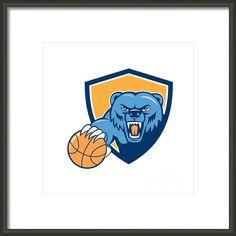 Grizzly Bear Angry Head Basketball Shield Cartoon Framed Print By Aloysius Patrimonio
