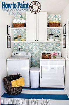 How to Paint Vinyl or Laminate Flooring   Laundry Room Makeover @KellyatVATW