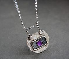 Small silver pendant with amethyst. MADE TO ORDER. - Small silver pendant with amethyst. Sterling Silver Heart Necklace, Amethyst Necklace, Silver Pendant Necklace, Sterling Silver Pendants, Pendant Jewelry, Necklace Chain, Craft Jewelry, Jewelry Ideas, 925 Silver