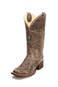 Corral Brown Turquoise Inlay Cowgirl Boots