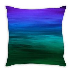 COASTAL SUNSET 2 Blue Green Ombre Suede Throw Pillow Cushion Cover #blue #green #oceanpillow #throwpillow #ocean #ombre #ombredecor #homedecor #stripes #watercolor #abstractart #ebiemporium #indigo #teal #dorm #coastal #colorful #colorfuldecor #interiors