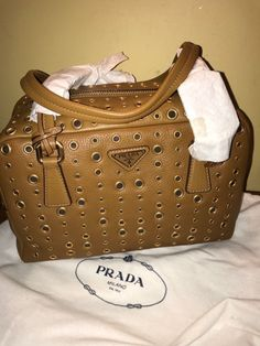 Details about NWT Authentic PRADA Daino Leather Brown Grommet Rings Bauletto  Bag Price attach e0cf7ca0bc