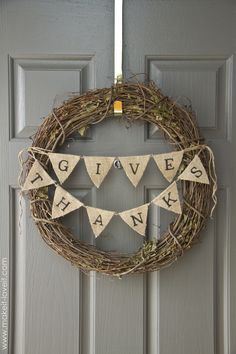 Burlap-wreath Thanksgiving Crafts, Thanksgiving Decorations, Thanksgiving Banner, Holiday Crafts, Thanksgiving 2016, Hosting Thanksgiving, Autumn Crafts, Holiday Fun, Holiday Ideas