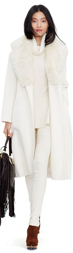 Ralph Lauren Shearling Collar Wool Coat  women fashion outfit clothing stylish apparel @roressclothes closet ideas