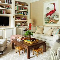 Ashley Whittaker Energizes a Florida Town House- The Glam Pad - coffee table for family room