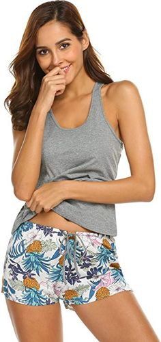 34da6a8370 Ekouaer Womens Sleepwear Sexy Nightwear Camisole Pajama Shorts Set with Eye  Mask 6844 Charcoal Grey Large