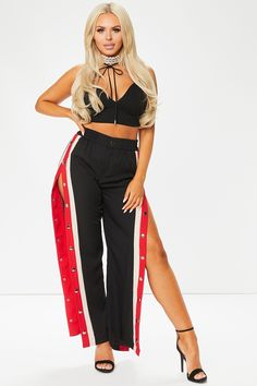 Khloe Black Side Popper Red Stripe Trousers