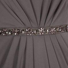 Jenny Packham No1 Designer Dark Grey Embellished Waist Dress UK16