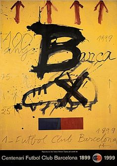 Original Poster Barcelona - February 1998, Antoni Tàpies work for Barça's Centenary officially presented at the FC Barcelona Museum.