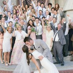 {Love this Photo Idea heart emoticon Cheers!} #kiss #wedding #weddingphoto #love #weddings #weddingidea #weddinginspiration #bride #groom #guests #cheers #happiness #sealedwithakiss #justmarried #beautiful