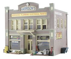 Blt/Rdy Harrisons Hardware HO (woobr5022) Woodland HO Scale Model Railroad Buildings