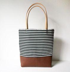 Stripe Canvas & Leather Tote Bag