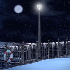 winter background Christmas waterfront