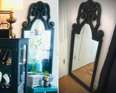 Grand miroir vertical vintage revampé Shop Fittings, Mineral Paint, Room Dimensions, Entrance, Upcycle, Shabby Chic, Creations, Hand Painted, Etsy