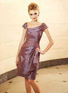Mother of the Bride Dresses - $132.98 - Sheath/Column Off-the-Shoulder Knee-Length Taffeta Mother of the Bride Dress With Appliques Lace Cascading Ruffles (00805006667)