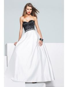 Bicolor A-line sweetheart zippered prom dress with sequined belt  US$161.80