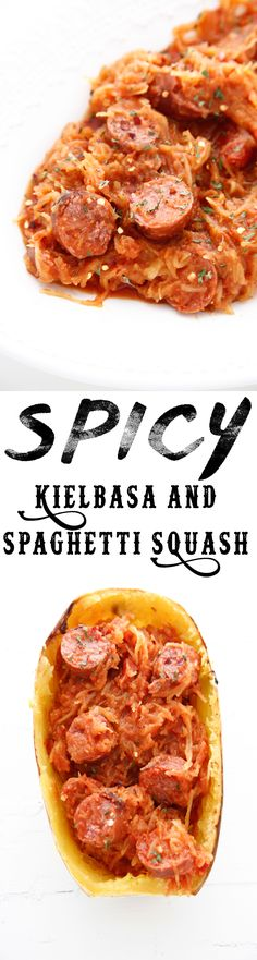 Spicy Kielbasa and Spaghetti Squash is an easy fall dinner that tastes amazing. Kielbasa has a ton of flavor and it tastes delicious with squash! Kielbasa, Winter Dinner Recipes, Paleo Dinner, Fall Recipes, Recipes Dinner, Dinner Ideas, Winter Meals, Meal Ideas, Sausage And Spaghetti Squash