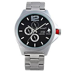 EPOZZ Mens Luxury Alaong Quartz watch 50M Waterproof Stainless Watches silver black * You can get more details by clicking on the image. (Note:Amazon affiliate link)