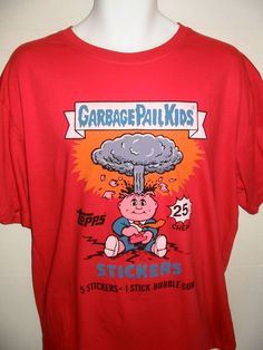Topps Collectibles Garbage Pail Kids Bubble Gum T-Shirt Mens 2XL Red New Tags  #GarbagePailKids