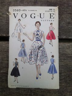 S 50s Vogue 3560 sundress Vintage Sewing Pattern by BobbinUpandDown