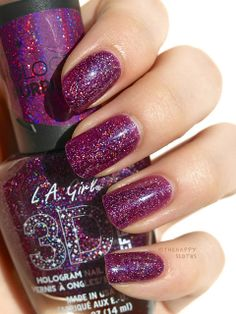 "L.A. Girl 3D Effects Hologram Nail Polish in ""Black Illusion"" & ""Purple Effect"": Review and Swatches"