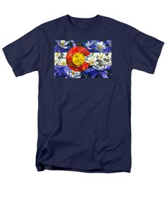 Colorado State Flag with Wildflower Textures T-Shirt