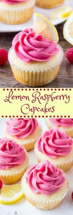 Lemon raspberry cupcakes are fluffy, moist, and bursting with fresh flavors. They start with lemon cupcakes that have a soft texture and hint of lemon. Sweet juicy berries in the raspberry frosting take them over the top. Raspberry Cupcake Recipes, Lemon Raspberry Muffins, Chocolate Raspberry Cupcakes, Raspberry Frosting, Cupcake Frosting, Cupcake Cakes, Lemon Frosting Recipes, Raspberry Ideas, Lemon Buttercream Frosting
