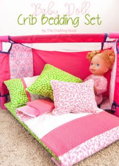Does your girl love to play with baby dolls? Then you will definitely enjoy this DIY Baby Doll Crib Bedding set. I made it to match my girl's duvet cover set and she loved it! Baby Doll Crib, Baby Girl Toys, Toys For Girls, Baby Dolls, Baby Cribs, Girl Dolls, Baby Bedding Sets, Crib Sets, Doll Bedding