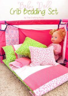 Cute DIY Baby Doll Crib Bedding set