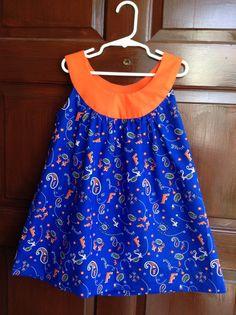 90d56af31 Handmade Girls Florida Gators Size 5 / 6 Child's Blue and Orange Paisley  Bandana Print Dress SEC Football