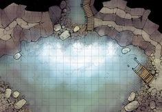 The Roaring Falls, a battle map for D&D / Dungeons & Dragons, Pathfinder, Warhammer and other table top RPGs. Tags: cave, river, water, wilderness, mountain, waterfall