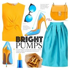 """""""Bright Pumps (with FSJ Shoes)"""" by alexandrazeres ❤ liked on Polyvore featuring Narciso Rodriguez, WithChic, Chloé, Quay and MAC Cosmetics"""